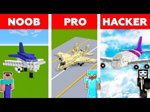 Minecraft NOOB vs PRO vs HACKER: AIRPLANE CHALLENGE in Minecraft / Aircraft animation