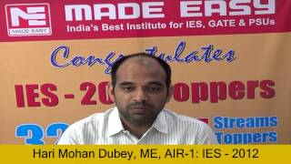 [Hari Mohan Mechanical Engineering AIR 1 IES 2012 Toppers Interv.]