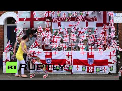 UK: World Cup superfan covers home with St George flags