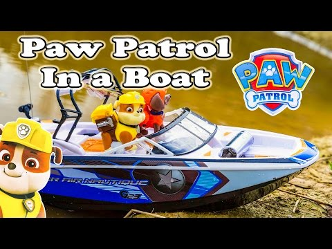 Paw Patrol Rubble Drives a Remote Control Boat a Funny Toy Parody