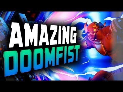 Kafeee Doomfist Gameplay - 4100 SR! 55 ELIMS! [ OVERWATCH SEASON 12 TOP 500 ]
