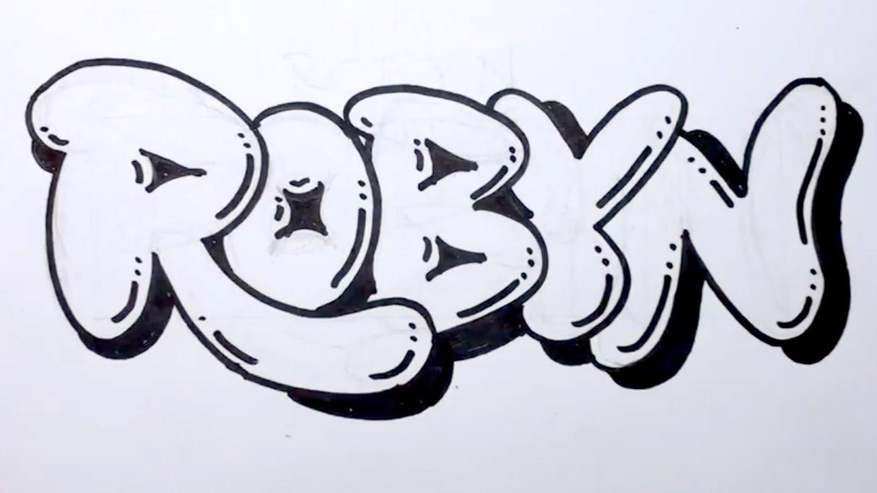 How to draw graffiti letters write robyn in bubble - Bubble graffiti ...