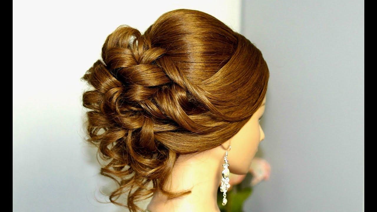 Вечерние прически на средние волосы с длинным платьем