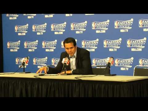 Miami Heat coach Erik Spoelstra addresses media after Game 3 win over Pacers