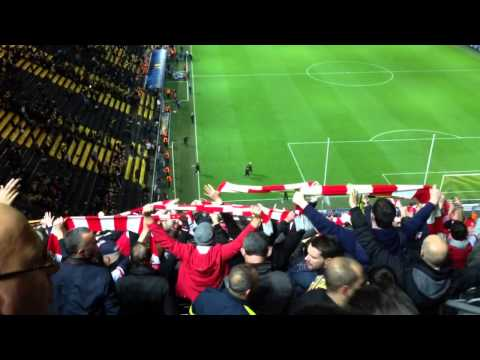 Arsenal v Dortmund - Fans at full time singing