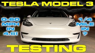 Tesla Model 3 Performance Testing 0-60 MPH and 1/4 Mile - Faster than a Toyota Supra!