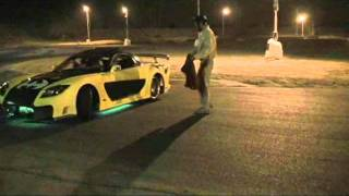 Veilside RX7 LS1 Batmobile Drifting At AMP Halloween Drift