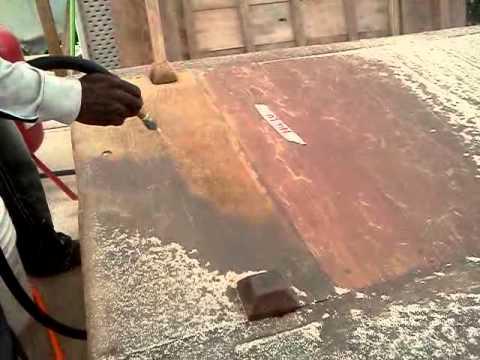 Sand blasting wood