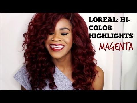 RED HAIR, NO BLEACH (Loreal HI-COLOR Highlights : Magenta)