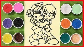 Đồ chơi trẻ em TÔ MÀU TRANH CÁT cặp đôi dễ thương - Learn Colors Sand Painting Toys (chị Chim Xinh)