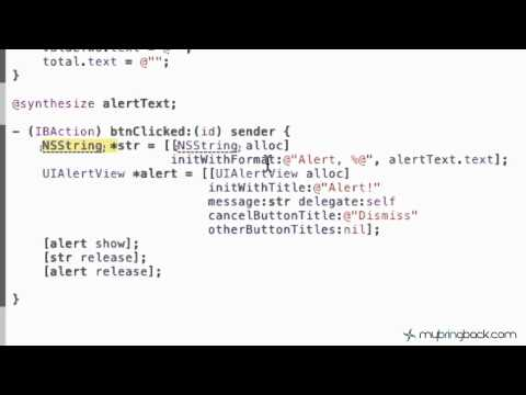 Learn Xcode 4 Tutorial iOS iPad iPhone 1.7  Basic Alert View