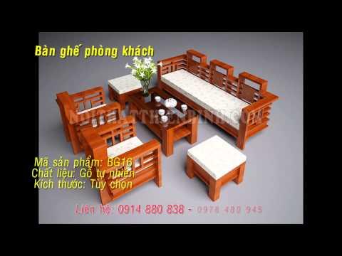 Ban ghe phong khach   Bàn ghế phòng khách gỗ tự nhiên.
