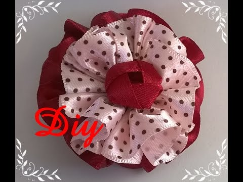 Flor de fita franzida DIY \ Ruffled ribbon flower DIY