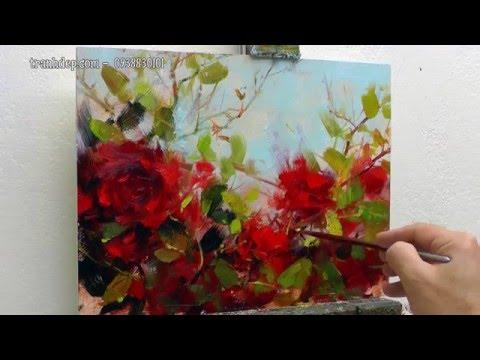 Vẽ tranh hoa hồng bằng sơn dầu