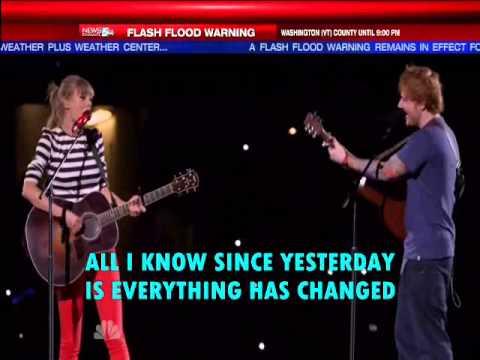 Taylor Swift Everything Has Changed ft Ed Sheeran( lyrics on screen)