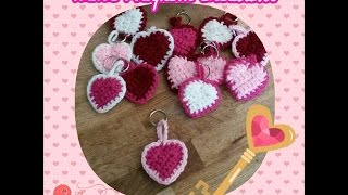 How To Crochet Valentine Heart Key Chains By Sabrina