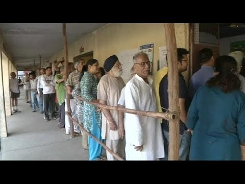Voters in New Delhi enter India's six-week long general election