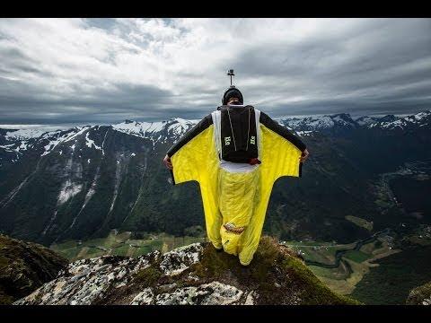 Wingsuit BASE Jump Hellesylt Norway.