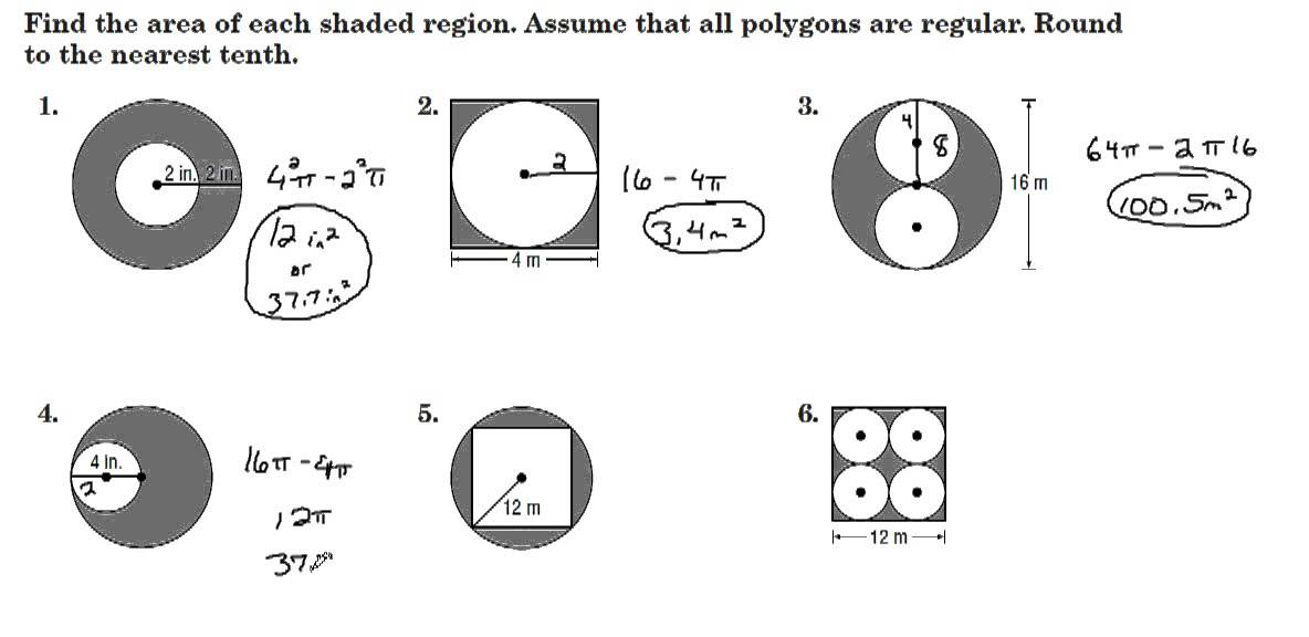 Printables Area Of Shaded Region Worksheet area of shaded region worksheet abitlikethis finding areas regions between polygons amp circles youtube