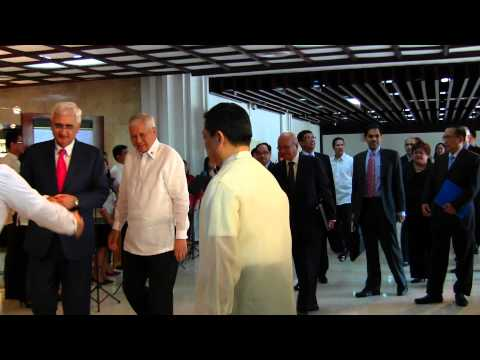 EAM being received by his counterpart Secretary Albert del Rosario at Manila, Philippines