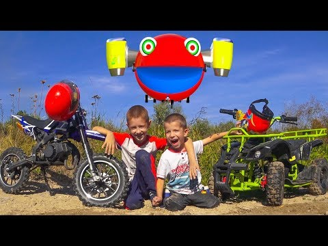 Damian and Darius Ride on Quad Bikes Motorcycle Funny Children s Car Story