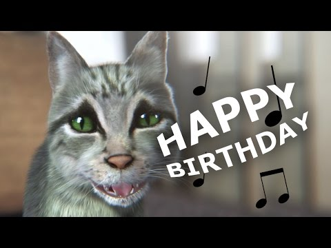 Cute but funny cat sings happy birthday