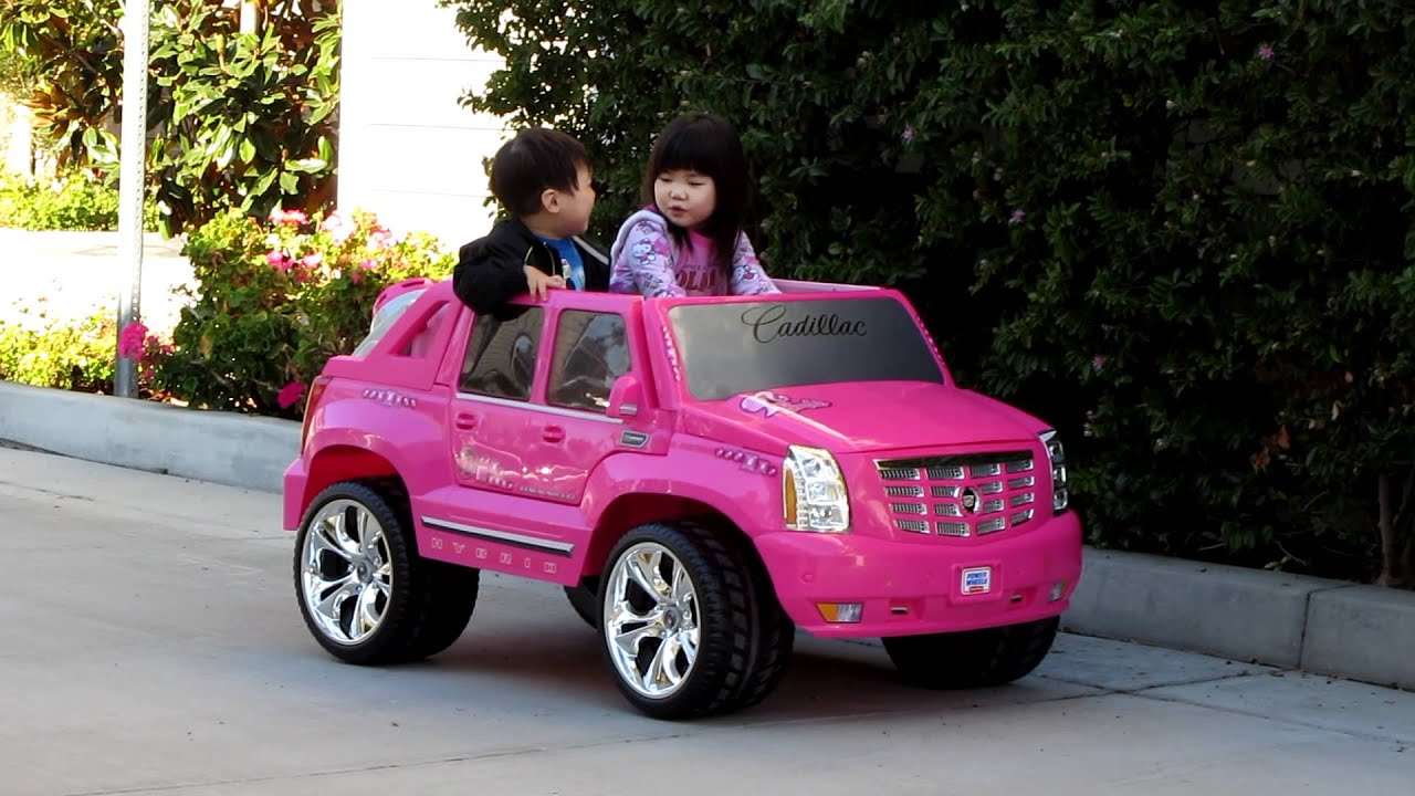 ariel test driving power wheels pink cadillac escalade. Cars Review. Best American Auto & Cars Review