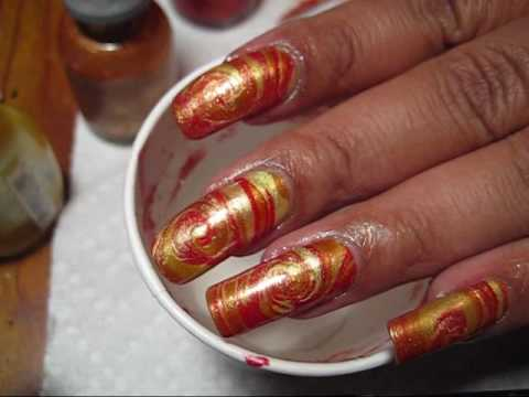 Fireball Water Marble Nail Art Tutorial - YouTube
