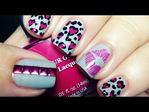 Heart Shaped Leopard Nails