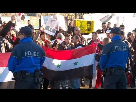 Lukewarm protests at Geneva II peace talks on Syria