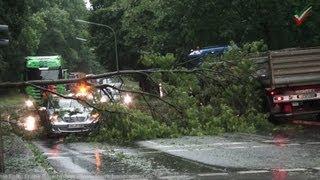 NRWspot.de | Hagen – Unwetter 50cm Wassertiefe, Baum auf Auto, Hagelschlag zerstört 1500qm Gärtnerei