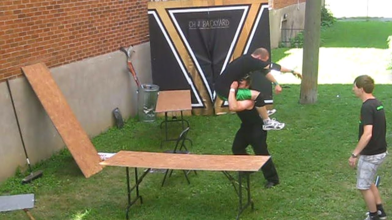 Backyard Table Match : Tables Match  Eric D (c) VS Swede Savard {CHW Championship} Backyard