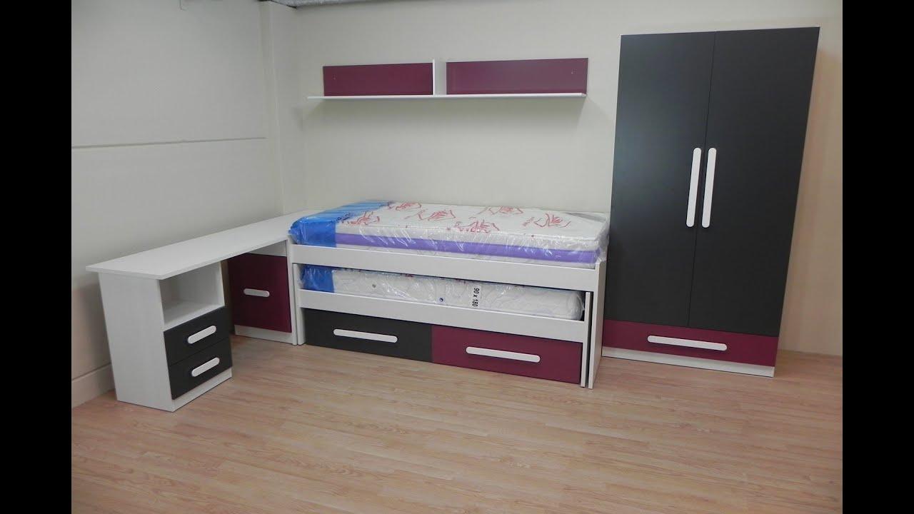 Dormitorio juvenil con cama escritorio armario y estante for Cama escritorio juvenil