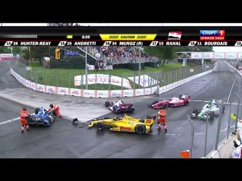 Pile Up @ 2014 Indy Car Toronto Race 2