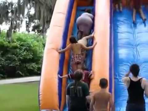 Fat Woman Falls Down Waterslide & Wipes Out Kids in Line