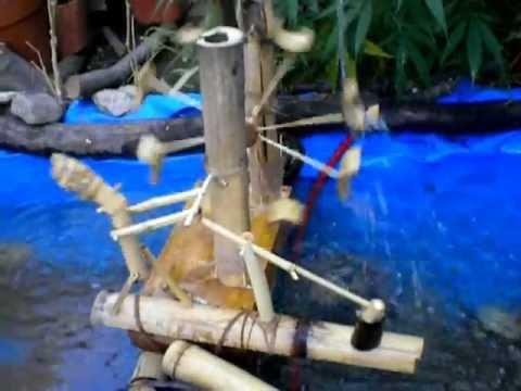Molino para estanque de agua artesanal casero youtube for Como construir un estanque en el jardin
