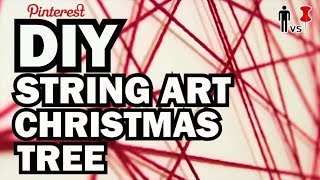 DIY String Art Xmas Tree - Broke for the Holidays