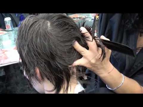 HAIRCUT: Short layers, scissors, razor