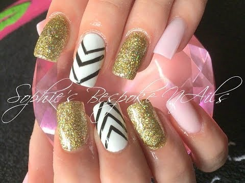 Acrylic Nails With Pink & Holo Gold With Nail Design
