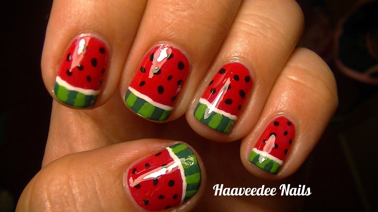 Watermelon nail art - YouTube