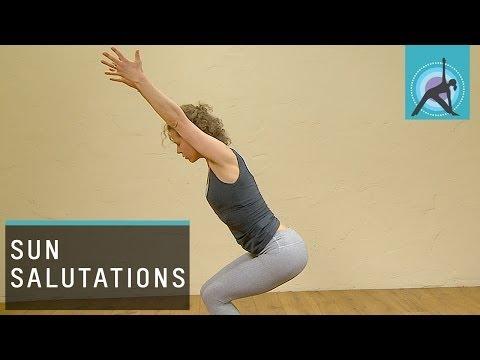 Three variations of a Sun Salutation or Surya Namaskar, Yoga