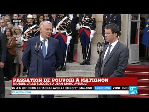 Le nouveau premier ministre Manuel Valls s'exprime lors de la passation de pouvoir