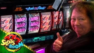 "JACKPOT !!! Rock around the Clock - 1c Konami Video Slots - ""San Manuel Sevens..."""