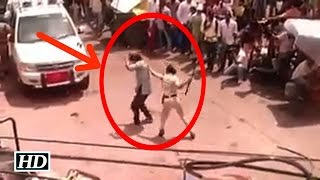 IANS : LEAKED: Priyanka Chopra beats co-worker while shooting !