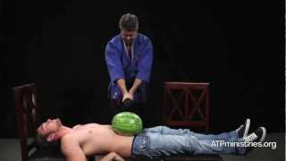 Samurai   Sword Cuts Watermelon Right On Man's Abdomen