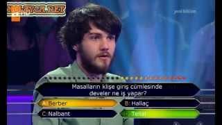 Kim milyoner olmak ister 234. bölüm 3. yarışmacı Tolga 10.06.2013 öyle bir soruda elendi ki