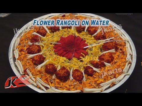 DIY fresh Flower Rangoli on Water 5 JK Arts 203