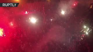 احتفالات الشارع الجزائري بالفوز الثمين