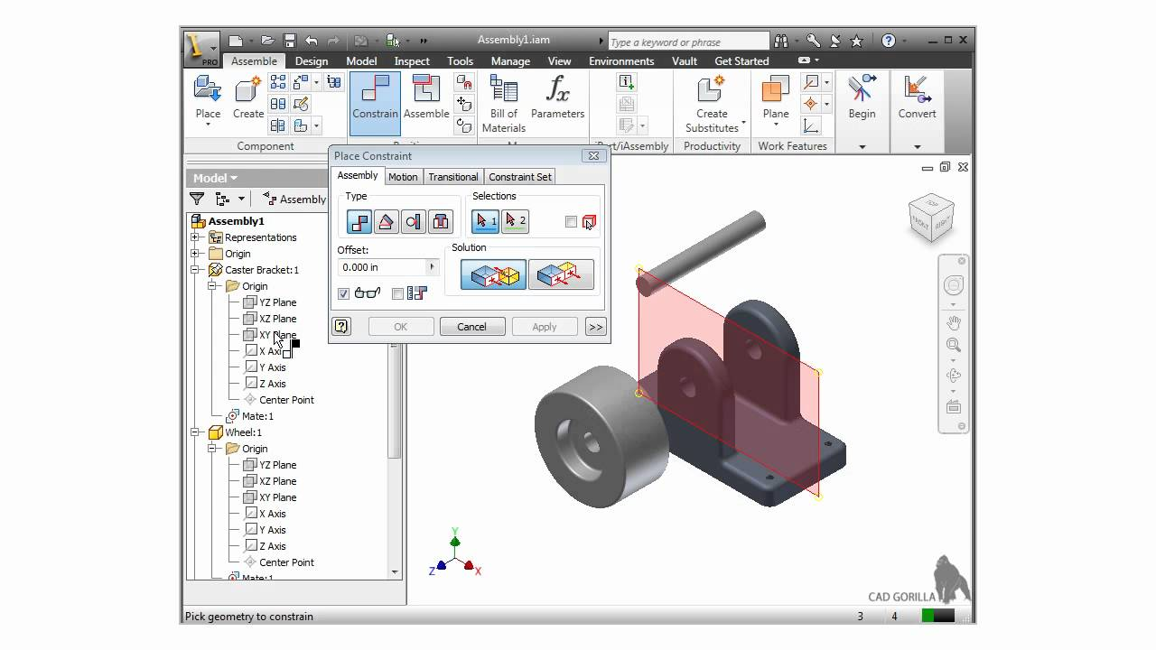 Autodesk Inventor Training Tutorial Assembly Mate Constraint