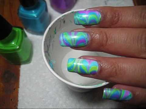 Neon Twist Water Marble Nail Art Tutorial - YouTube, More pics can be seen here: http://mysimplelittlepleasures.blogspot.com/2010/03/notd-neon-twist-water-marble-tutorial.html I forgot to mention I am using a w...
